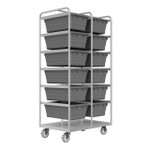 DURHAM STBR-303672-12-5PU, Stainless Steel Tub Rack Cart, 12 bins