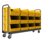 DURHAM TBR-187847-12B-5PU-95, Tub Rack, 12 yellow bins and push handle