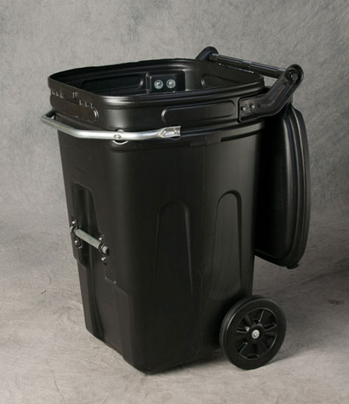 65 Gal Wheeled Waste E-Cart w/Lid-Black