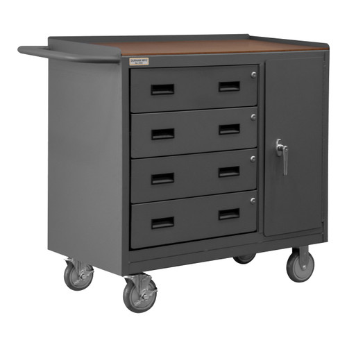 DURHAM 2211A-TH-LU-95, Mobile Bench Cabinet, hard board top