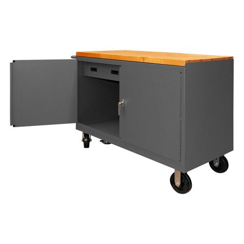DURHAM 3415-MT-FL-95, Mobile Bench Cabinet, maple, floor lock