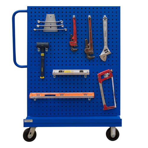 DURHAM AF-243652-PBS60-5PH-65T, A-Frame Truck, pegboard panels, blue
