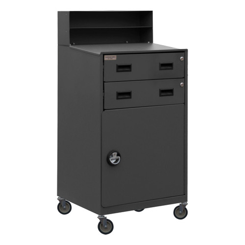 DURHAM FED-2023-95, Mobile Shop Desk, 2 shelf, 2 drawers