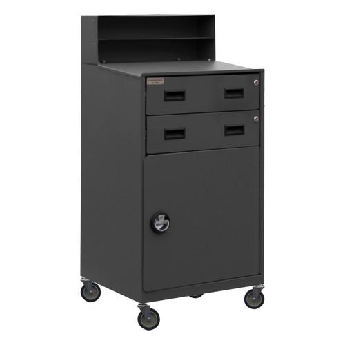 DURHAM FED-2023-95, Mobile Shop Desk, 2 shelf, 2 drawers