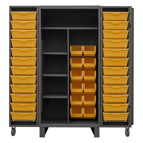 DURHAM HDJ36-12DC24TB4S95, Cabinet, 4 shelf, 12 yellow/24 tilt bins
