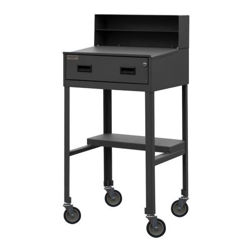 DURHAM MSD-2023-95, Mobile Shop Desk, half shelf, 1 drawer