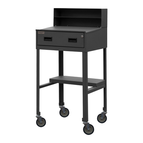 DURHAM MSD-2023-95, Mobile Shop Desk, half shelf, 1 drawer