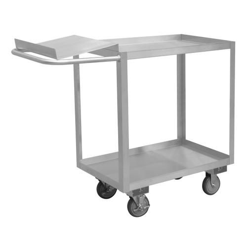 DURHAM SOPC1618302ALU5PU, Stainless Order Picking Cart, 2 shelves