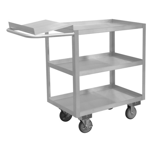 DURHAM SOPC1618303ALU5PU, Stainless Order Picking Cart, 3 shelves