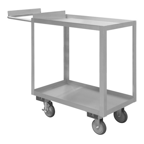 DURHAM SOPC1618362ALU5PU, Stainless Order Picking Cart, 2 shelves