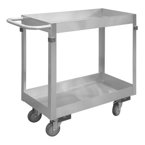 DURHAM SRSC32016302ALU4PU, Stainless Steel Stock Cart, 2 shelves