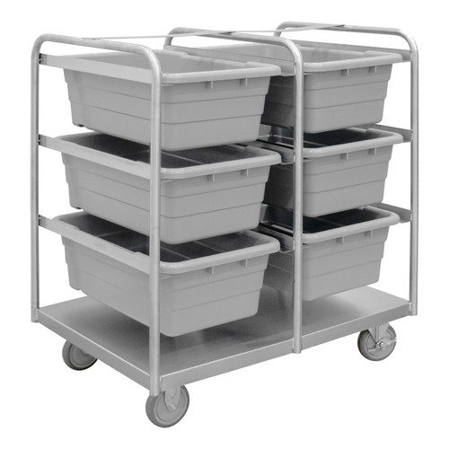 DURHAM STBR-303642-6-5PU, Stainless Steel Tub Rack Cart, 6 bins