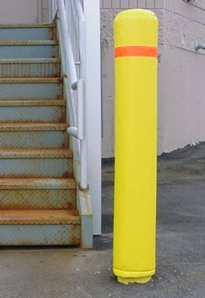 """Innoplast 7"""" x 50""""  Bollard Pole Soft Padded Cover Yellow with Red Reflective Tape"""