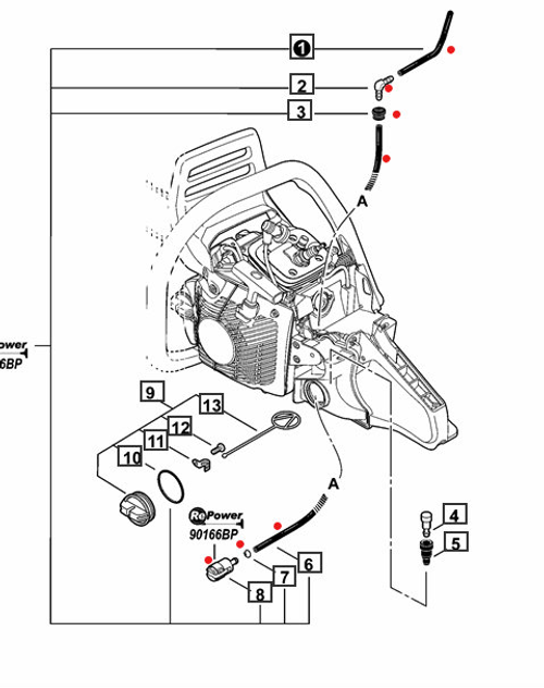 KIT CONTAINS FUEL LINE PARTS MARKED WITH RED DOT
