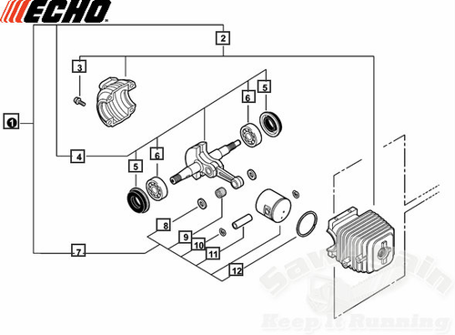 Echo Cs-303T Engine Short Block Assembly, Cylinder, Piston, Rings, Crankshaft New Oem Sb1108