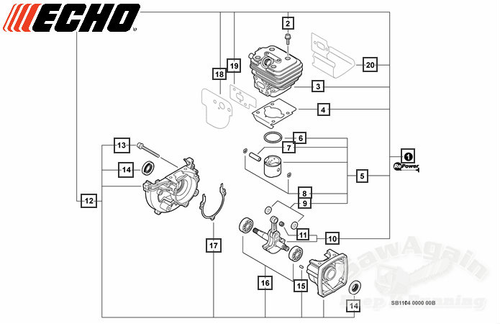 Echo Pb-250, Pb-250Ln Hand Held Blower Short Block Cylinder And Piston Assembly New Oem Sb1104