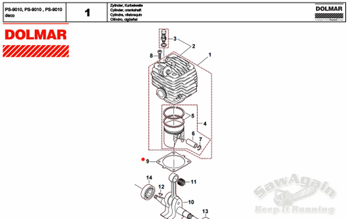 Dolmar Ps9000, Ps-9010 Cylinder Gasket 965525060