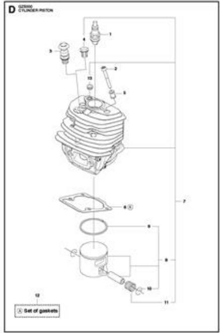 Husqvarna 545, Jonsered Cs 2252, Redmax Gz5000 Cylinder And Piston Ring Rebuild Kit New Oem 577764706