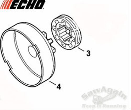 Echo Cs 590 Timber Wolf, 600P,  620P Clutch Drum And 3/8 7 Tooth Rim Sprocket