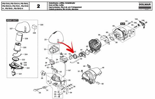 Dolmar  Ps-630, 6400, 7300, 7310, 7900, 7910, Makita Dcs 6400, 7300, 7900, Carburetor Manifold Flange New Oem 038171041