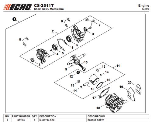 Echo Cs 2511T Engine Short Block New Oem Sb1120