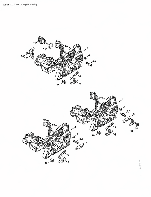 Stihl Ms251, Ms231 Crank Case Engine Housing Assy, New Oem 11430203023