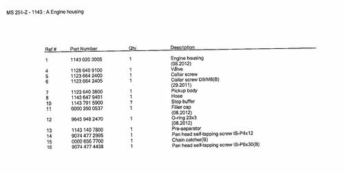 Stihl Ms251, Ms231 Crank Case Engine Housing Assy, New Oem 11430203005