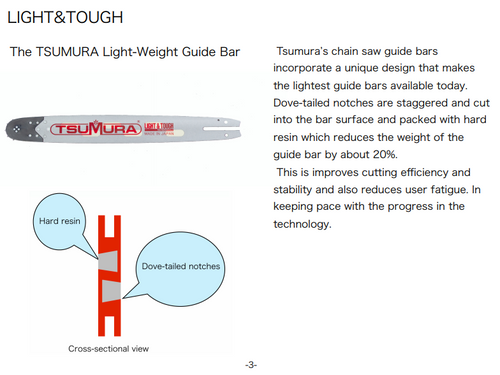 "24"" .058 Tsumura Light Weight Chainsaw Bar Fits Echo Cs-7310"
