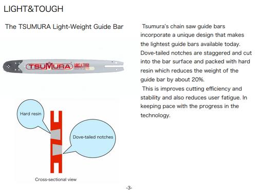 "24"" .050 Tsumura Light Weight Chainsaw Bar Fits Echo Cs-7310, 459fk4"