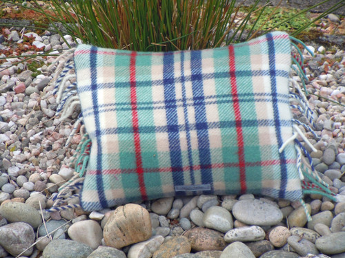 Coastal Check Pastel Plaid Rectangle Cushion