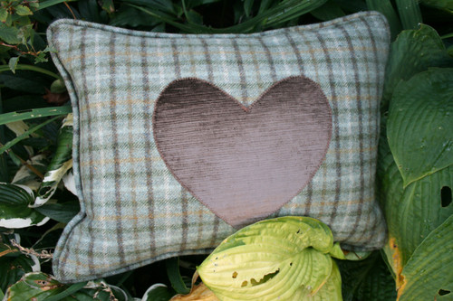 Tweed rectangle cushion with brown velvet heart