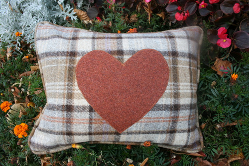 Chocolate check with burnt orange heart