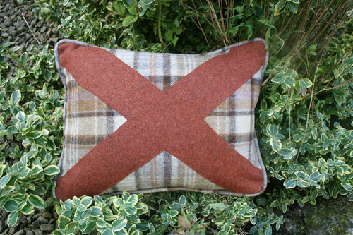 Chocolate check with burnt orange saltire