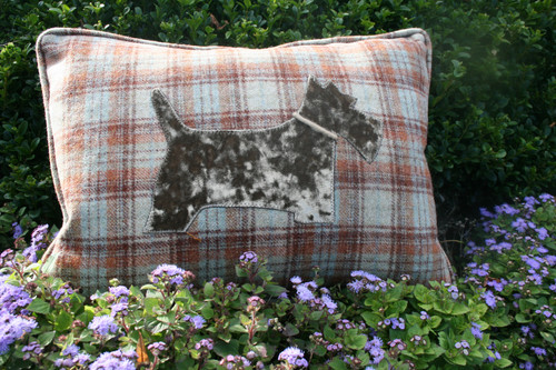 Rustic plaid with mink velvet Scottie rectangle cushion