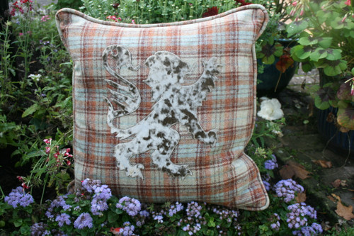 Rustic plaid cushion with mink velvet lion rampant