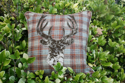 Rustic plaid cushion with mink velvet stag