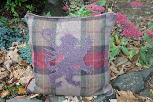 Highland Heather cushion with purple lion rampant