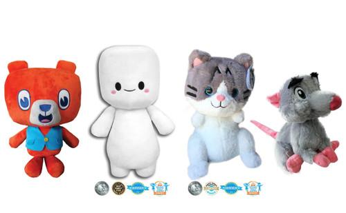 Stuffimals Bundle: Benny Bear, Marshfellow, Lil Bunny Sue Roux & Dennis Boyd Plush
