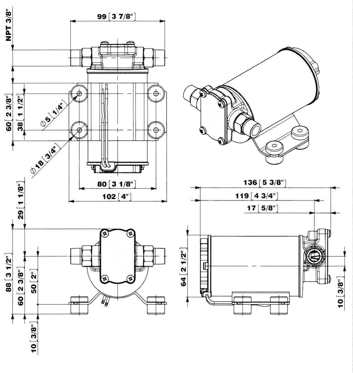 24 Volt gear pump dimensions