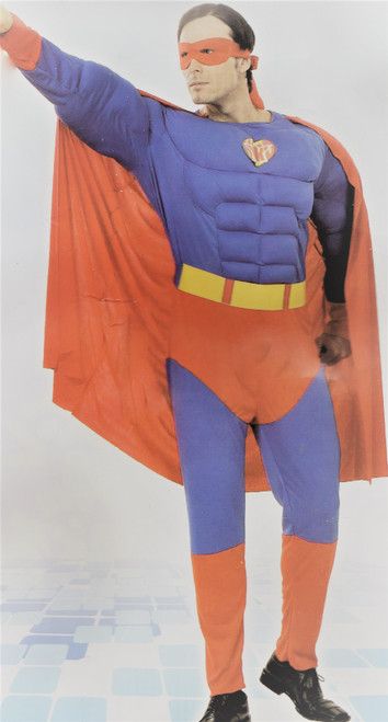 Superhero Superman Costume with built in Muscles,  Cape and Mask