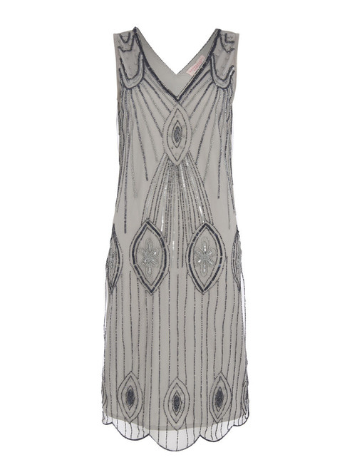Blue Grey 1920's beaded dress for hire The Littlest