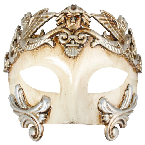 Platinum and Ivory Roman Style Masquerade Mask