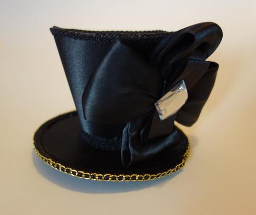 Jewelled Black Mini Top Hat, Steampunk, Burlesque, Novelty