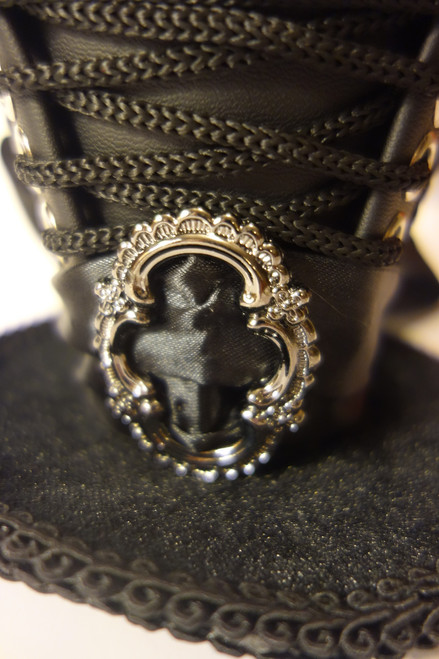 Victorian Silver Buckle on Steampunk Mini Top Hat