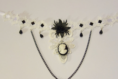Steampunk Necklace - Lace Choker with Chains and Cameo