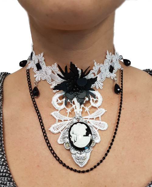 Steampunk Lace Choker with Cameo