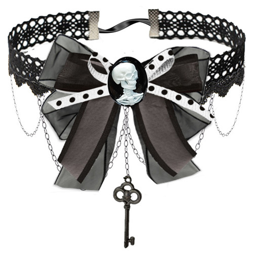 Lace Steampunk Choker with Skull Cameo