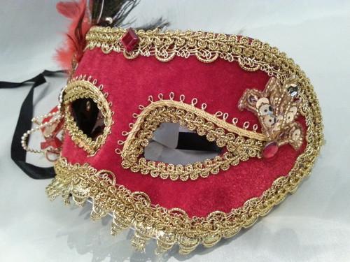 Red and Gold Velvet Masquerade mask