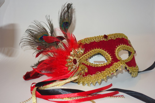 Red and Gold Velvet Masquerade Mask