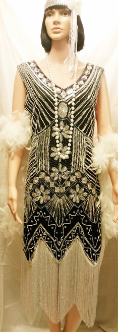 Black and Silve 1920's Dress for Hire